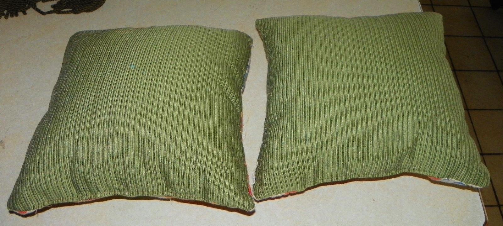 Pair of Green Blue Flower Print Throw Pillows  16 X 16