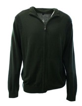 Kenneth Cole Men's Sweater Sz L  Forest Green Light Cotton Ribbed Full Z... - $31.91