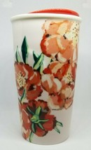 Starbucks Ceramic Tumbler Lid 2015 Floral/ Poppy Red White 10oz. - $22.76
