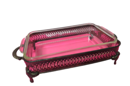 Anchor Hocking Fire King 1.5 Qt Baking Dish In Silver Plated Footed Hold... - $24.75