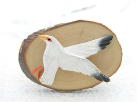 Vintage Carved Wood Painted Seagull Gull Bird Brooch Pin Artist Signed   - $49.50