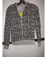 NWT! Tilly's Hoodie Gray Black Animal Print Leopard Zip Up Jacket Size S - $29.65