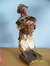 vtg folk art mexican paper mache figurine Man holding basket of pottery ... - $99.00