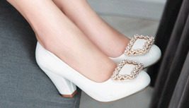 pp453 elegant thick heels rhinestones pumps, US Size 2-10.5, white - $48.80