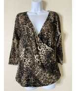 Chicos Womens Size 2 Lace Aninal Print Wrap Style Blouse 3/4 Sleeve - $12.67