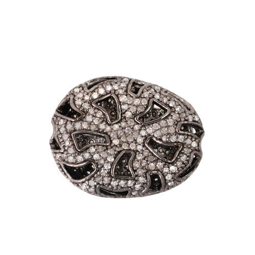 Primary image for 925 Sterling Silver 1.05 Ct Pave Diamond Spacer Bead Vintage Finding 26X20.5 mm