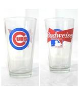 Budweiser MLB Chicago Cubs Beer Glass Clear 12 oz Blue Red White Basebal... - $12.86