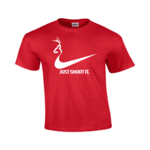Just Shoot It T Shirt Funny College Humor Hunting Nike Duck Logo Mens Gildan 117 - $13.49+
