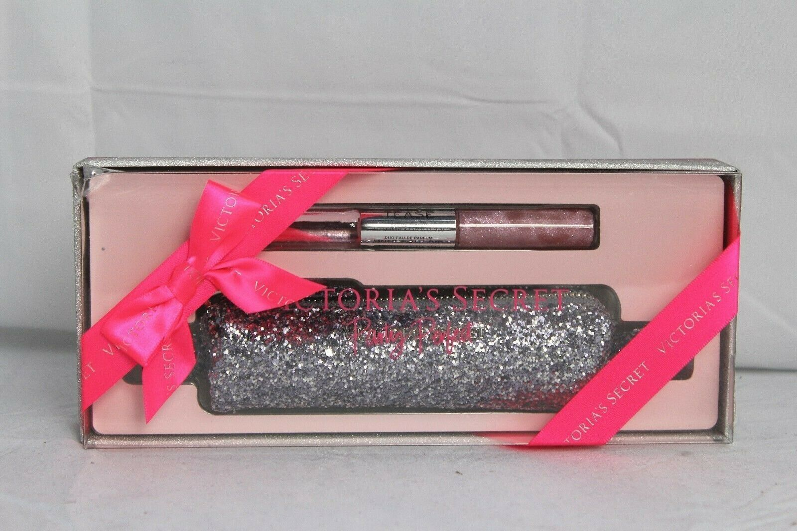 Victoria's Secret~Party Perfect~Noir Tease~EDP Rollerball+Lip Gloss+glitter case image 3