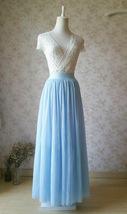 Light Blue Wedding Tulle Skirt High Waisted Full Long Tulle Skirt image 2
