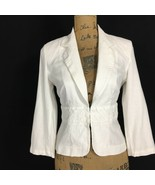 Marks Spencer 10 UK 6 US Blazer White Linen Bl Empire 3/4 Sl Med WASHABL... - $1.95