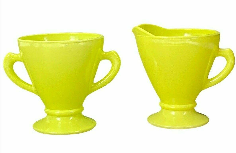 Vintage Hazel Atlas Ovidue Platonite Yellow Green Creamer Sugar Set c1950s - $24.74
