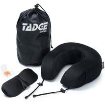 Memory Foam Black Neck Pillow Velour Cover Sleep Mask Earplugs Carry Bag - $24.02