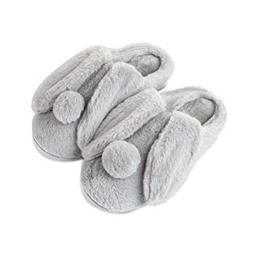 Women Plush Slippers Winter Cartoon Indoor Slippers Household Slippers GREY