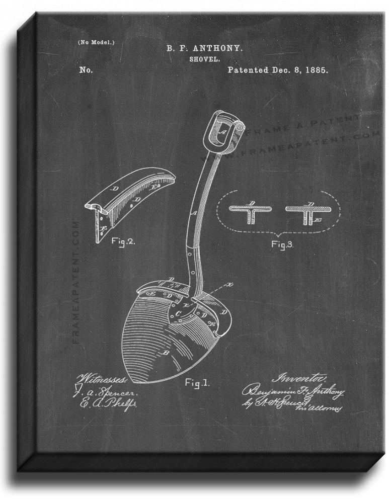Primary image for Shovel Patent Print Chalkboard on Canvas