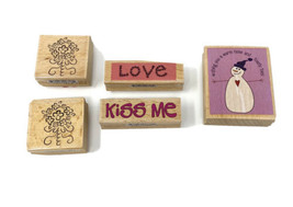 Lot of 6 Studio G Variety of Wood Mounted Rubber Craft Stamps Heart Flow... - $7.69