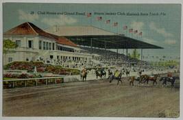 VTG Postcard Club House Grand Stand, Miami Jockey Club, Hialeah Race Tra... - $9.79