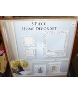 5 Piece White Wood  Home Decor Set Mirror,Clock, 2 Wall Plaques & Pictur... - $75.00