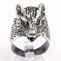 925 Silver Ring, Burnished Head of Wolf, Adjustable Size image 3