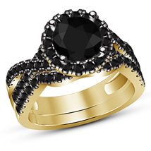 10K Yellow Gold Finish Round Black Diamond Solitaire Bridal Set Engageme... - $97.99
