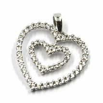 SOLID 18K WHITE GOLD PENDANT DOUBLE HEART WITH CUBIC ZIRCONIA, 18mm, 0.7 inches image 1
