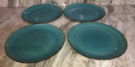 "Dinner Formal Plates Set Of 4 Turquoise Swirl Stoneware 10.5"" Royal Norfolk NEW - $46.41"