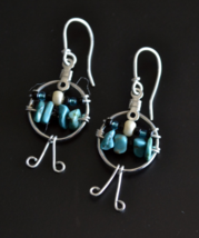 Turquoise earrings, Simple Turquoise Earrings, Dangle earrings, drop (E199) - $7.99