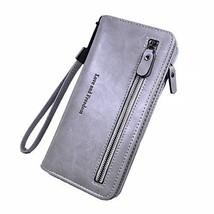 Women Leather Billfold Long Wallet Clutch Zipper Money Clip Wristlet Duo - $40.42