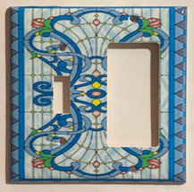 Stained blue glass art Light Switch Outlet Wall Cover Plate Home Decor image 7
