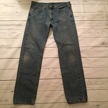 Levis 505 Mens Jeans Straight Leg Med Wash Denim Blue Tag 34x34 Actual S... - $19.77