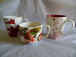 Starbucks Lot of 3 Red Theme Coffee Mugs Cups Red Fox, Red Bows, Red Che... - $33.32