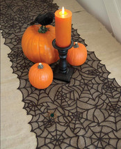 Helloween Tablecloth Black Spider Lace Table Runner Cover Helloween Deco... - $9.49
