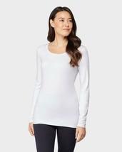 32 Degrees Cozy Heat Underwear Long Sleeve Scoop Top, White, S - $10.71