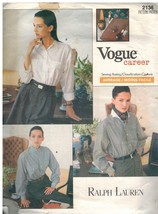 2136 Vintage Vogue Patrón de Costura Misses Muy Suelto Ajuste Botón Frontal - $7.91