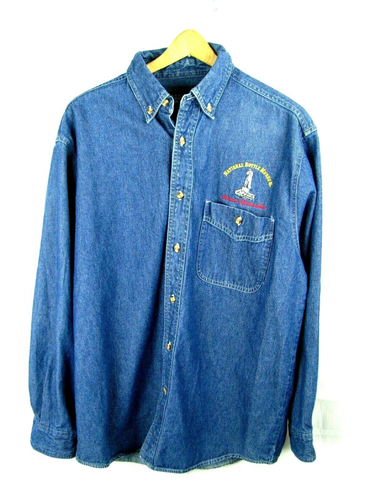 Primary image for Denim National Bottle Museum Long Sleeve Shirt Sz M - Museum Glassworks- Rare