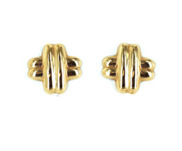 "Vintage 14k Gold 1970's Kiss ""X"" Puffy Post Earrings Pretty! - $269.99"