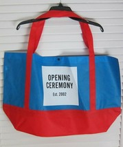 NEW Opening Ceremony Reusable EXTRA LARGE Tote Bag Blue & Red w / Square... - $18.18