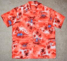 Vintage Made In Hawaii Large Hawaiian Shirt Orange Palm Tree Boat Short ... - $29.91