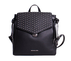 Michael Kors Bristol Medium Studded Leather Backpack Book Bag Black New ... - $236.61
