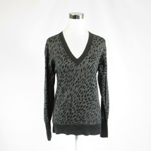 Light gray cheetah cotton blend DKNY JEANS long sleeve V-neck sweater M - $14.99
