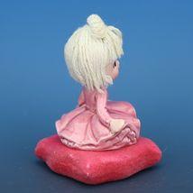 Vintage Japanese Mophead Girl Figurine on Velvel Flocked Pink Pillow image 4