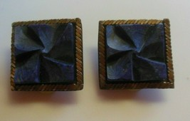 Signed BAER SF Vintage Blue Textured Square Clip-on Earrings - $32.18