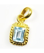 Pretty Blue Topaz Gold Plated Pendant 5 Carat Gemstone Jewelry Charm Nec... - $28.41