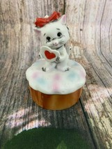 VTG Lefton Ceramic Standing White Cat Holding A Heart Trinket Box - $9.50