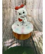 VTG Lefton Ceramic Standing White Cat Holding A Heart Trinket Box - $9.50