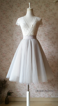 Nude White Gray Knee Length High Waist A-line Tulle CIRCLE SKIRT Lady Tutu Skirt image 6