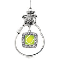 Inspired Silver Tennis Classic Snowman Holiday Christmas Tree Ornament With Crys - $14.69