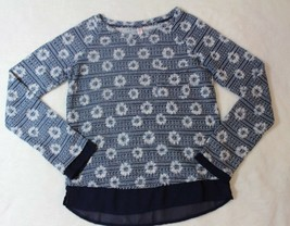 Xhilaration Girls Sweater Sz L 10 12 Blue White Floral Thin Knit Casual ... - $17.81
