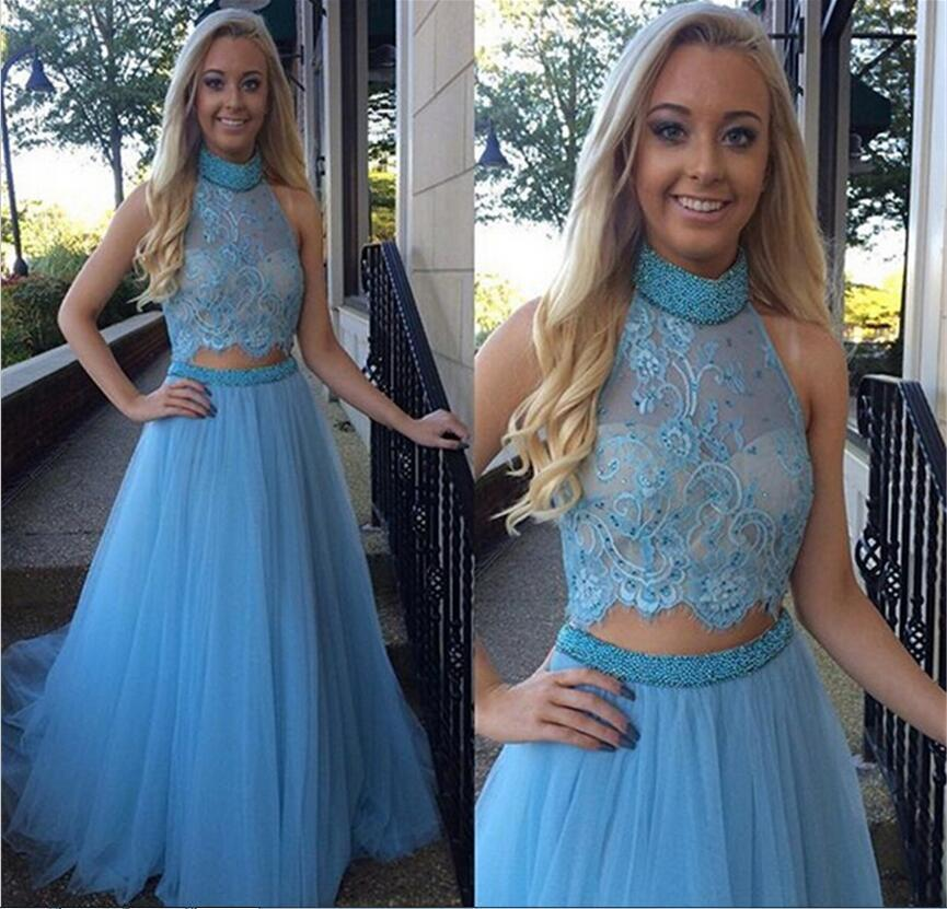 blue prom Dress,two pieces Prom Dress,high neck prom dress,long prom dresses