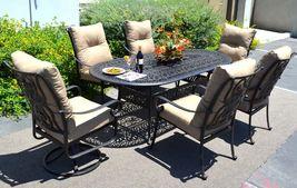 Patio 7 piece dining set oudoor cast aluminum furniture chairs Sunbrella Bronze image 3